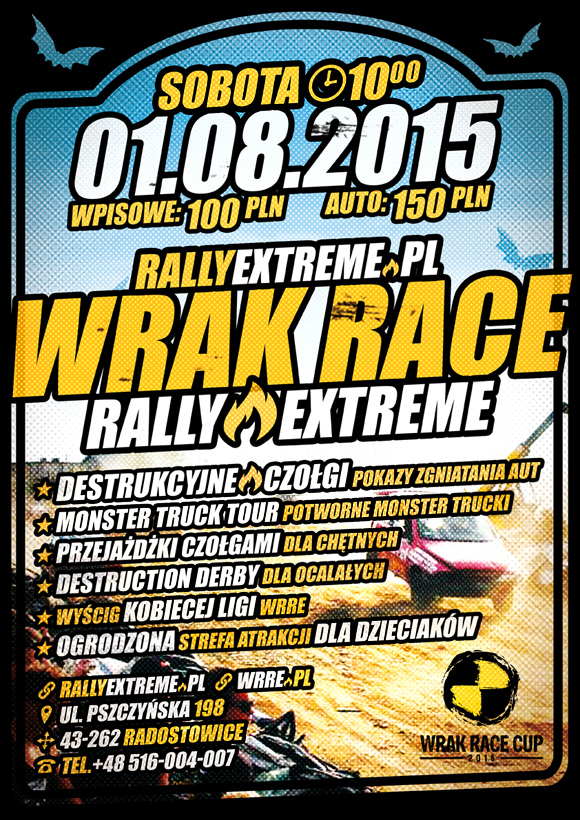 Wrak Race Rally Extreme - 01.08.2015 - RallyExtreme.pl Radostowice k.Pszczyny Oficjalny Plakat